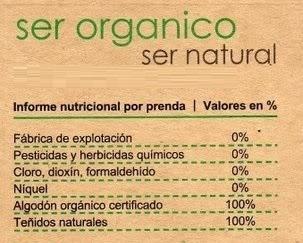 Etiqueta de algodón orgánico