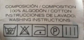 Etiqueta para sabanas de cuna de algodon 100 por 100.