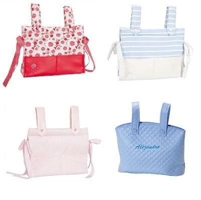 Colección de bolsos o talegas para colgar en la silla de pasear