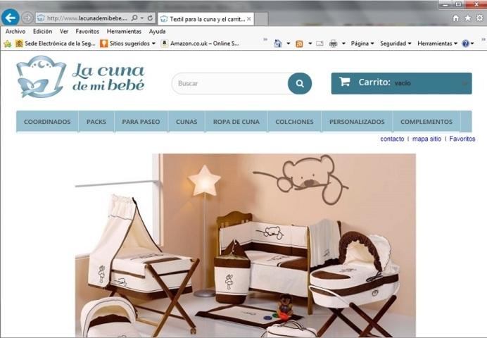 Página de inicio de la tienda de ropa de cuna para bebes y complementos textiles