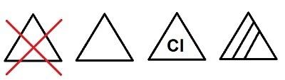 Simbolos de los iconos del lavado con lejia