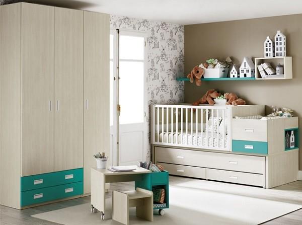 cuarto del bebe con cuna y armario
