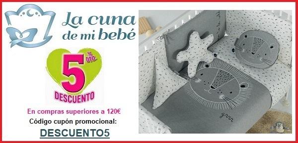 Cupón descuento 5% por compras superiores a 120€ en La Cuna de mi Bebé