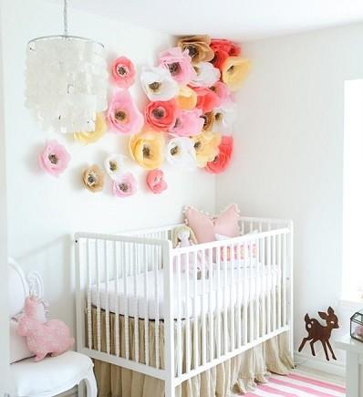 pompones flores para decorar habitacion bebe